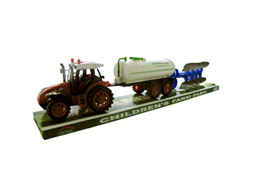 Friction Farm Tractor Truck and Double Trailer in 1 Play Set. (Red or Green)