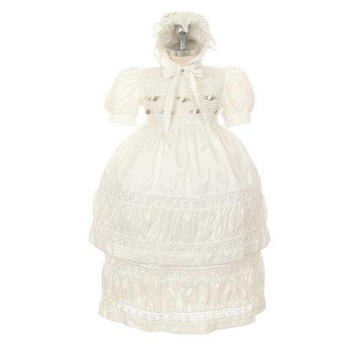 Rain Kids White Puff Taffeta Baptismal Bonnet Dress Baby Girl 12M