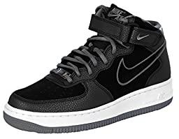 Nike Women\'s Air Force 1 \'07 Mid Suede Basketball Shoes-Black/Cool Grey-7