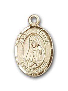 14kt Gold Baby Child or Lapel Badge Medal with St. Martha Charm and Angel w/Wings Pin Brooch