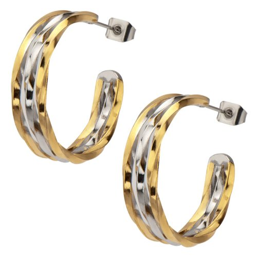 Inox Jewelry Women's Stainless Steel Twisted Two-Tone Hoop Earring
