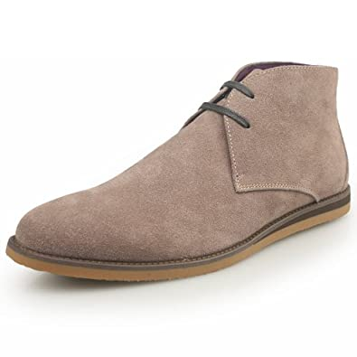 Fulinken Genuine Leather Casual Shoes Ankle Boots Round Toe Mens Desert Boots Chukkas Boots (6.5, Beige)