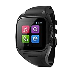 PowerLead Sw3 PL-M7 Newest Smart Watch Phone Android 4.2.2 OS Dual-core CPU 3G/GSM/WCDMA 1.54 Inch IPS Capacitive Screen Sports Pedometer Smartwatches Heart Rate Monitor GPS Waterproof 5.0 MP Camera BluetoothWatch phone(Black)