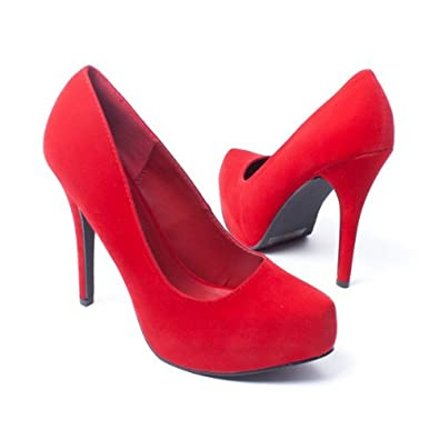 Qupid Women's Shoes Classic Stiletto High Heel Platform Pumps, Red Faux Suede, 7 M US
