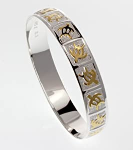 Two Tone Turtle Scroll Bangle, FREE shipping from Hawaii, 7.5IN, Silver width 10mm