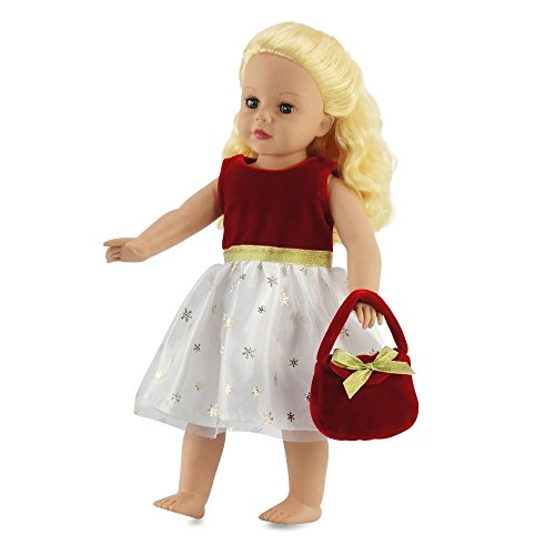 18 Inch Doll Clothes - Red and White Celebration Dress w/ Purse | Fits Americal Girl Dolls