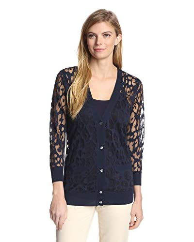 Magaschoni Women's Leopard Burnout Cardigan