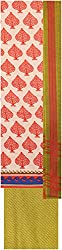 Payal Collection's Women's Cotton Unstitched Salwar (Cream and Orange)