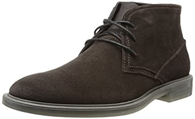Calvin Klein Men's Ulysses Suede Boot,Dark Brown,7 M US