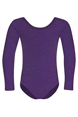 """tanzmuster Kinder Ballettanzug """"Lilly"""" mit langen Ärmeln und rundem Hals- und Rückenausschnitt. Schlichtes Ballett Trikot als Grundausstattung für die Ballettstunde in den Farben rosa, weiß, pink, hellblau, schwarz und lila."""