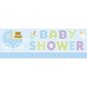Creative Converting Baby Shower Teddy Baby Blue Giant Party Banner, 60-Inch from Creative Converting