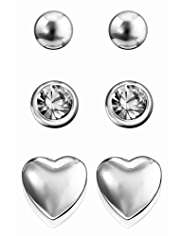 M&S Collection Silver Plated Assorted Stud Trio Earrings Set
