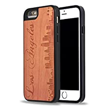 buy Custom Iphone Cases, Carved On Natural Rosewood Iphone 6 Case, Iphone 6S Case, Izercase [Wood Collection, Los Angeles ] [Perfect Fit] (Rosewood)