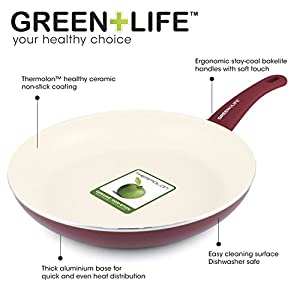 GreenLife 2 Piece Non-Stick Ceramic 7 Inch and 10 Inch Fry Pan Set with Soft Grip