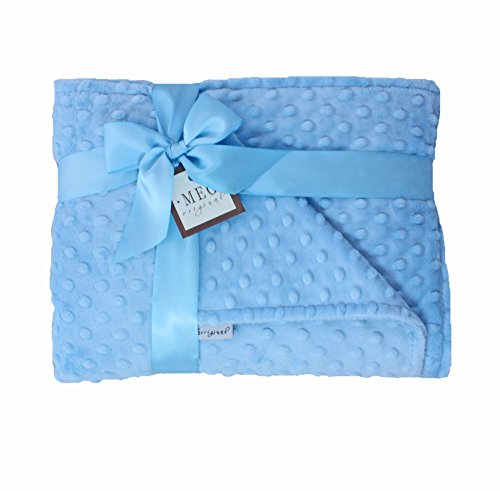 MEG Original Minky Dot Crib Size Baby Boy Blanket, Baby Blue 604 - 1