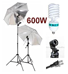 Ardinbir Studio 600W Photo Black/Silver Reflective Umbrella kit with Continuous Light, Socket and Stand