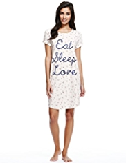 Pure Cotton Eat Sleep Love Floral Minishirt