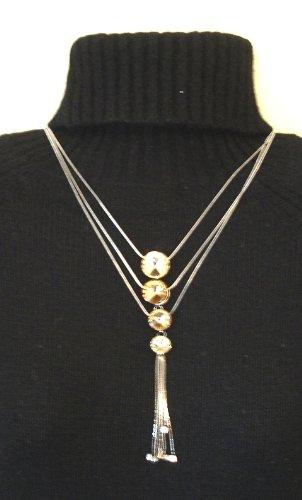 Beautiful Golden Sequin Crystal Drop Necklace