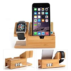 Apple Watch Stand with USB 2.0 Hub, Hapurs 2 in 1 iWatch Bamboo Wood Charging Dock Charge Station Cradle Holder With 3 Ports USB 2.0 Hub for Apple Watch 38mm 42mm & iPhones & Other Smartphones