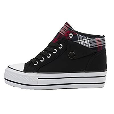 Wuyiwan Womens Increase Casual Fashionable Lace-up Plaid Plats Canvas Shoes