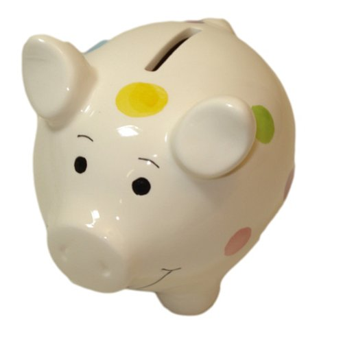 Ceramic White Piggy Bank with Polka Dots