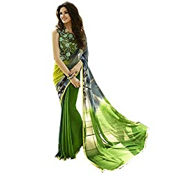 Pramukh saris Womens Georgette Printed Sari(Green)