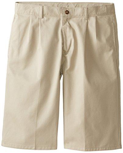 Izod Little Boys' Pleated Uniform Short, Khaki, 08 Regular