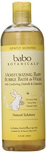 Babo Botanicals Moisturizing Bubble Bath & Wash, 15oz - Natural and Organic Baby, Sensitive Skin, Dry Skin, Eczema