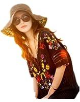 Autek cap Hot grand chapeau à larges bords chapeau pliable vacances plage Voyage de plage marron (556-1)