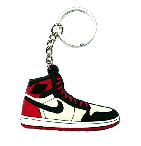 Air Jordan I 1 Black Toe AJKO Black/White/Red Chicago Bulls Sneakers Shoes Keychain Keyring AJ 23 Retro (Aj 1 Black compare prices)