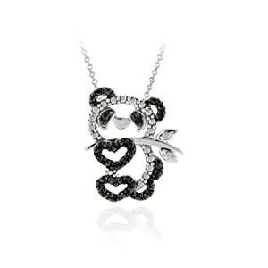 Sterling Silver Black Diamond Accent Panda Bear Necklace, 18""