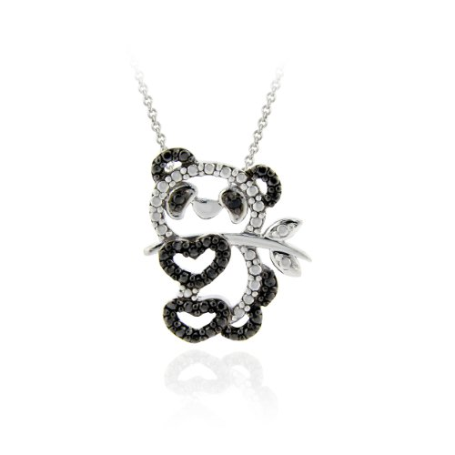 Sterling Silver Black Diamond Accent Panda Bear
