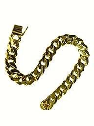 14k Solid Gold Heavy Handmade Curb Link Mens Bracelet 8″ 45 Grams 11mm (10053