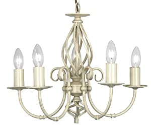 Tuscany 5 Light Ceiling Fitting Ivory / Cream Painted Finish from Oaks Lighting