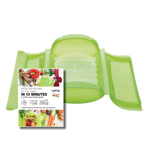 Lekue 1-2 Person Steam Case With Draining Tray and Bonus 10 Minute Cookbook, Green