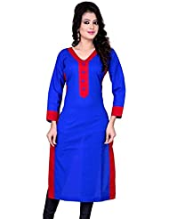 Alethia Blue & Red Color Cotton Printed Semi-Stitched Kurti-ALH462KIC-2025CN