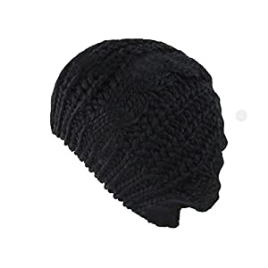 Viskey Winter Woman Knit Beret Crochet Beanie Hat Cap Plain Color,Black
