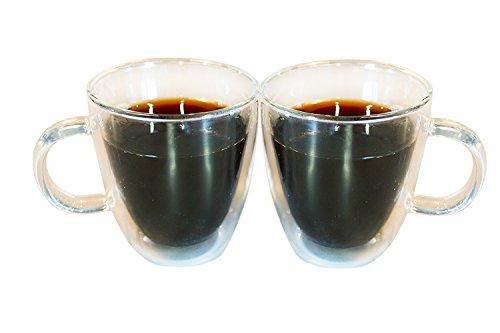 CoastLine Kitchen Insulated Double Wall Glass Coffee Mug Set | Coffee Mugs Set of 2 | 11.8 Ounces Each | Durable, Stylish, Dishwasher & Microwave Safe | CoastLine - No Risk! (Glass Mug Microwavable compare prices)