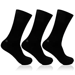 Bonjour Odour free plain Socks for Men with brand logo Pack of 3 Pairs_BRO201D-PO3