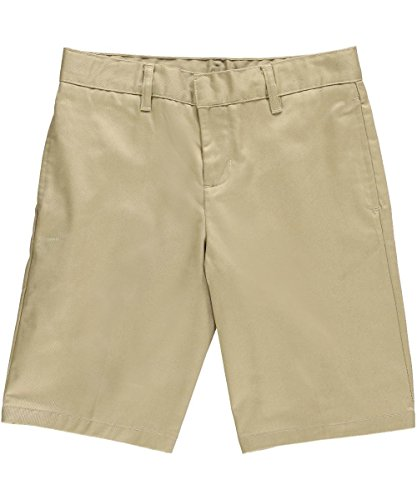 Big Boys' Husky Flat Front Twill Shorts with Adjustable Waist - khaki, 10 husky