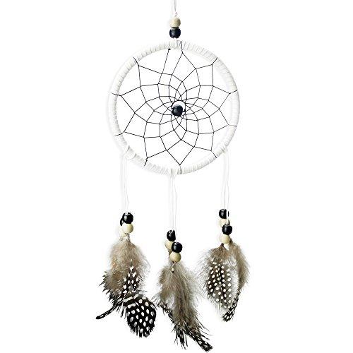 LifeUp- Acchiappasogni con Piume Sogni d'oro,Decorazione Auto Casa Giardino, Dream Catcher Indiano Bianco Nero 30*11cm