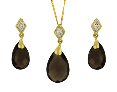 9ct Yellow Gold 0.06ct Diamond and Smoky Quartz Drop Earrings and Pendant on Curb Chain Necklace Set 46cm/18