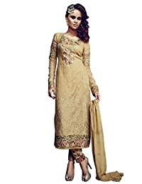 Desi Look Women's Beige Georgette Unstitched Salwar Suit With Dupatta