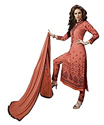 Ethnic For You Cambric Cotton Unstitched Salwar Suit Dress Materials(Orange)