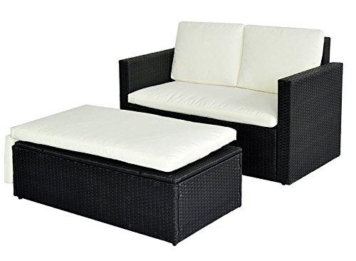 POLY RATTAN Lounge Gartenset SCHWARZ Sofa Garnitur Polyrattan Gartenmöbel Neu günstig bestellen