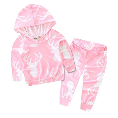 Baby's Clothes, Mchoice 1Set Newborn Infant Baby Boy Girl Deer Print Hoodie Tops+Pants Outfits Clothes (9~18 Months, Pink 1)