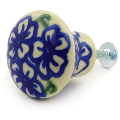 Polmedia Polish Pottery 2-Inch Stoneware Drawer Pull Knob H2062G Hand Painted From Cer-Maz In Boleslawiec Poland. Shape S073E(210) Pattern P7102A(D137)