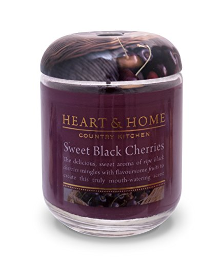Heart & Home Large Glass Sweet Black Cherries Candle