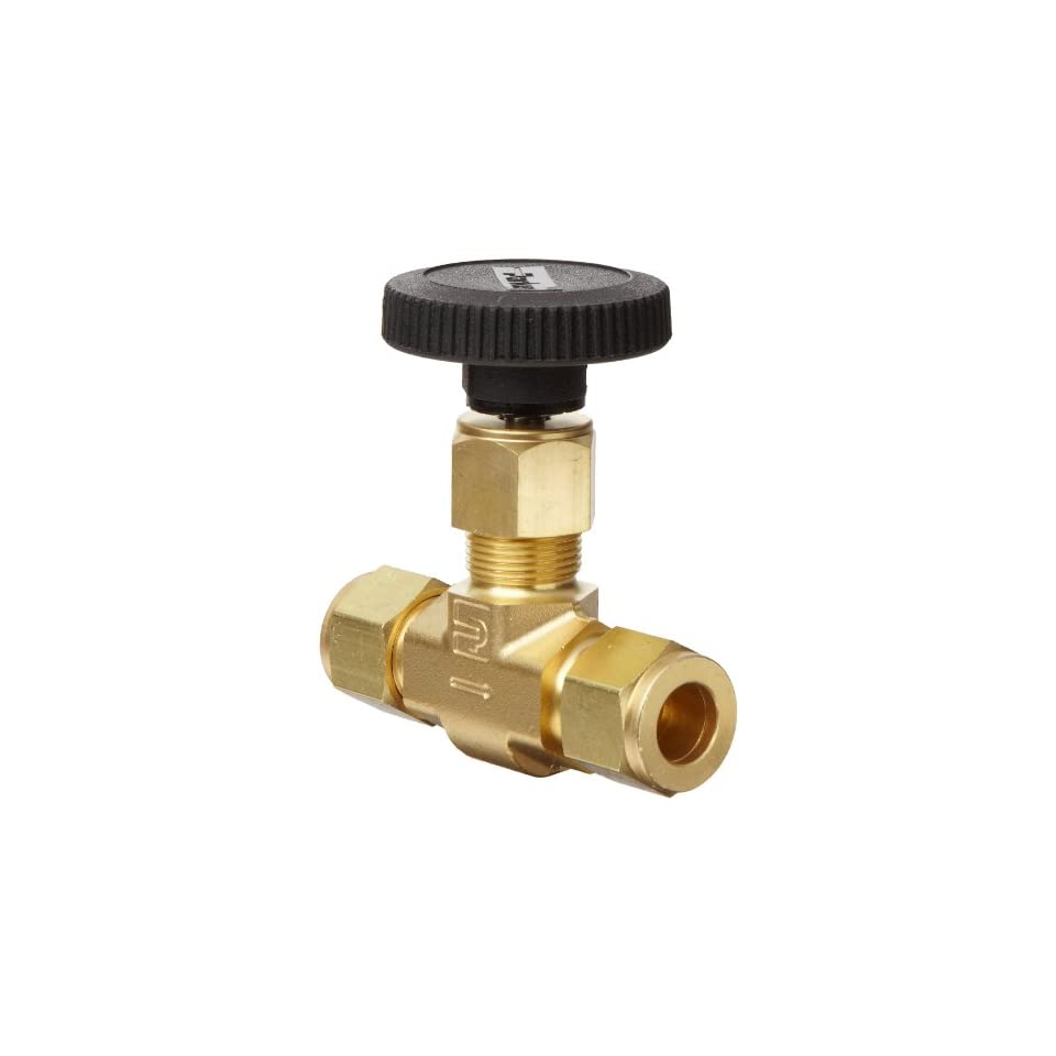 Parker V Series Brass Needle Valve, Inline, Hand Wheel, PCTFE Tipped Stem, 1/4 CPI Compression Fitting
