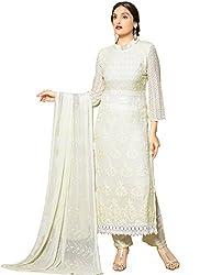 Adorn Fashion New White Embroidered Designer Dress Material